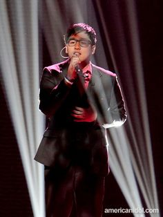 "Heejun Han performs ""Right Here Waiting"" by Richard Marx at the Top 11 performance show."