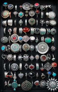 and recently my niece got me this case to organize them. and recently my niece got me this case to organize them. Didn't know I had enough to fill it. Bohemian Style Jewelry, Hippie Jewelry, Cute Jewelry, Jewelry Rings, Jewelery, Jewelry Accessories, Hippie Rings, Bohemian Rings, Arrow Jewelry