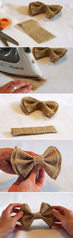 No Sew DIY Clip on Bow Ties - could make regular ties out of burlap as well. There is also colored burlap. What a neat idea for decorating a wedding with burlap. Burlap Projects, Burlap Crafts, Burlap Bows, Diy Home Crafts, Arts And Crafts, Burlap Decorations, Burlap Curtains, Fabric Crafts, Diy Para A Casa