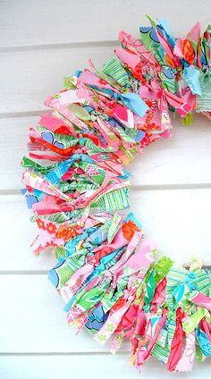 lily pulitzer fabrics, rag wreath
