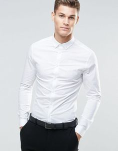 ASOS | ASOS Skinny Shirt In White With Button Down Collar And Long Sleeves