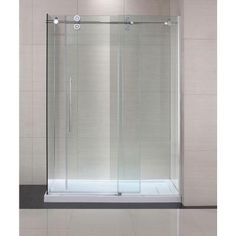Schon Lindsay 60 in. x 79 in. Frameless Shower Enclosure with Sliding Glass Shower Door in Chrome and Clear Glass-SC70019 at The Home Depot