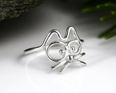 Cutest Cat Ring Ever! This sterling silver ring is handmade from tarnish resistant Argentium Sterling Silver, with a dash of good humor.