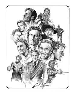"Errol Flynn illustration from the book ""Hombres de Hollywood"" Errol Flynn, Classic Movie Stars, Classic Films, Golden Age Of Hollywood, Classic Hollywood, Denis Zilber, Star Illustration, Cinema Tv, Rare Photos"