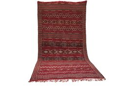 OLD Vintage Berber handwoven 5x10 kilim Wool Area Rug Handmade Moroccan Area rug azilal Beniourain flat kilim berber rug tapis berber kilim
