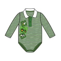 John Deere Infant Boys Striped Green Onesie with Collar and Farm Scene – GreenToys4u.com