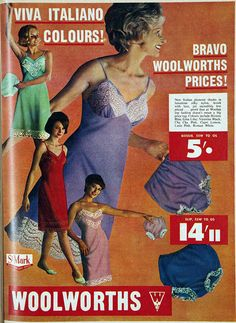 "1963 lingerie from Woolworth. Interestingly, branded as ""St. Mark"", a clear play on Marks and Spencer's ""St. Michael""."