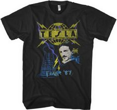 eeecccde718 Tesla Vintage Band T-shirt - Tesla Tour 1987 | Men's Black Concert Shirt
