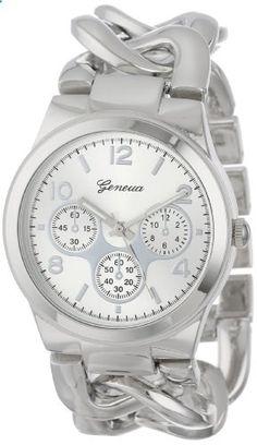 Geneva Women's 2380-Silver-GEN Oversized Interlocked Chain Band Watch. Go to the website to read more description.