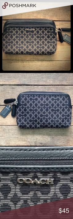 """♥️ COACH POUCH/WALLET Black fabric, classic letter C Wallet/pouch.  Double zippered tiered pouch with three card slots in the larger pouch. Beautiful blue/teal satin lining. In EUC, CAMERA IS MAKING THIS LOOK SLIGHTLY LIGHTER THAN THE ACTUAL COLORS. 6""""L x 4""""W. Coach Bags Wallets"""