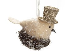 Ragon House Collection Bird on Nest Ornament - use paper wings if making from paper clay