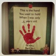 This is the hand you use to hold when I was only ____ years old. This would be AWESOME as a grandparent or other parent gift on childs graduation or something special!!