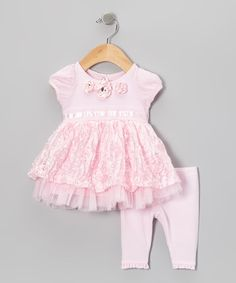 Take a look at this Pink Ribbon Rosette Puff-Sleeve Top & Leggings on zulily today!
