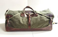 Large Vintage Gokeys Leather & Canvas Duffle Bag