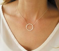 This Open Circle Karma Necklace Silver Circle Necklace Circle is just one of the custom, handmade pieces you'll find in our pendants shops. Diamond Choker Necklace, Gold Circle Necklace, Simple Necklace, Lariat Necklace, Moon Necklace, Silver Necklaces, Silver Jewelry, Delicate Necklaces, Gold Jewellery