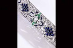 This platinum, diamond, sapphire and emerald bracelet from Oscar Heyman & Bros. has a pre-sale estimate of $100,000 to $150,000.