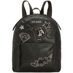 Steve Madden Trudy Backpack with Blackout Patches, a Style ($98) ❤ liked on Polyvore featuring bags, backpacks, black, steve madden backpack, day pack backpack, patch backpack, fake leather backpack and faux leather backpack