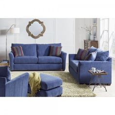 Maddie Living Room - Sofa & Loveseat - Blue (32770318720) Loveseat Sofa, Sofas, Couch, Dream Furniture, Living Room Furniture, Living Room Sofa Design, Sofa Sale, Beach House Decor, Home Decor