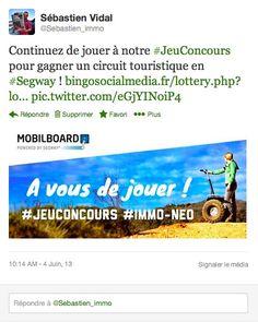 Le #JeuConcours se déroule aussi sur Twitter ! Augmentez vos chances, le partage sur les réseaux sociaux joue en votre faveur ;) #info  Rappel du lien vers le concours : http://www.bingosocialmedia.fr/lottery.php?lottery=70