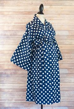Maternity Kimono Style Robe - Navy Dot - Birthing Robe that coordinates with your Maternity Hospital Gown -Perfect for skin to skin nursing