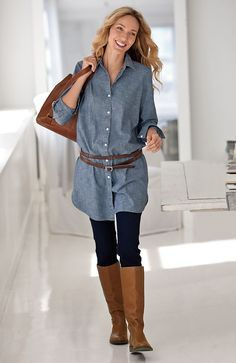 denim-tunic-and-leggings--shirt-dress- I like this look but could I pull it off with the belt? Denim Shirt Outfits, Long Denim Shirt, Denim Tunic, Legging Outfits, Denim Shirt Dress, Denim Shirts, Long Shirts, Chambray Dress, Tunic Shirt
