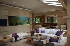 22 Contemporary Living Room Designs with Fish Tanks