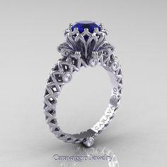 Caravaggio Lace 14K White Gold 1.0 Ct Blue Sapphire Diamond Engagement Ring…