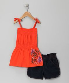 Take a look at this Orange Rose Tunic & Shorts - Girls by Essential Summer: Girls' Sets on #zulily today!