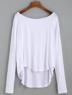 Shop White Drop Shoulder High Low T-shirt online. SheIn offers White Drop Shoulder High Low T-shirt & more to fit your fashionable needs.