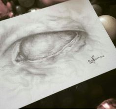 Marbled eye postcard drawing