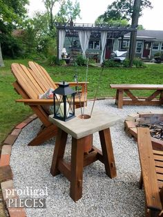 Diy Furniture : Concrete Fire Pit Table with Roasting Stick Holder by Prodigal Pieces Fire Pit Area, Fire Pit Table, Diy Fire Pit, Fire Pit Backyard, Backyard Patio, Fire Pit Chairs, Fire Pit Off Patio, Fire Pit Gravel, Pea Gravel