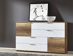 Contemporary Germania Match matt white and oak wood veneer sideboard