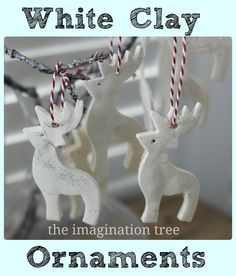 White Clay Ornaments Tutorial - The Imagination Tree 1 cup bicarbonate of soda (baking soda) cup corn flour (corn starch) cup of warm water silver glitter Noel Christmas, Christmas Ornaments, White Ornaments, Reindeer Ornaments, Snowflake Ornaments, Glitter Ornaments, Imagination Tree, Reindeer Craft, Dough Ornaments