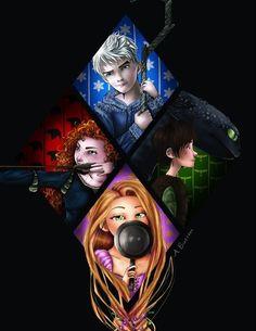 Merida, Hiccup, Jack, Rapunzel