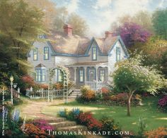 """""""Home is where the Heart is II"""" was released in June, 1996. Thom presented """"an idyllic American dream home…a classic farmhouse set in a lovely garden, capturing the warm feeling of home and family."""" Thom loved the scenery and said """"I like to think that these trees were planted long ago."""" One may miss the little cats on the porch and the heart shaped objects. Learn more:https://thomaskinkade.com/art/home-is-where-the-heart-is-ii/?ref=13"""