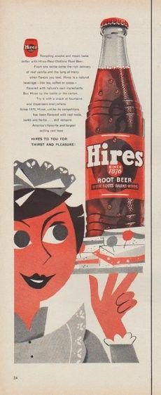 """Description: 1954 HIRES ROOT BEER vintage print advertisement """"snacks and meals"""" -- Tempting snacks and meals taste better with Hires Real Oldtime Root Beer ... Hires To You For Thirst And Pleasure -- Size: The dimensions of the half-page advertisement are approximately 5.5 inches x 14 inches (14 cm x 36 cm). Condition: This original vintage half-page advertisement is in Very Good Condition unless otherwise noted."""
