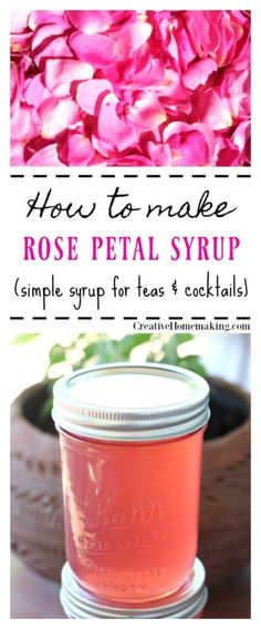 Simple Syrup Recipe How to make rose simple syrup. Easy recipe for canning rose syrup.How to make rose simple syrup. Easy recipe for canning rose syrup. Cocktail Syrups, Tea Cocktails, Cocktail Recipes, Rose Syrup Recipe, Simple Syrup Recipe Drinks, Rose Recipe, Rose Jelly Recipe, Fruit Syrup Recipe, Recipe Recipe