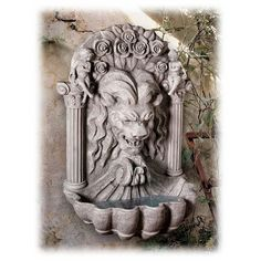 House of York Lion 37 Inch Faux Stone Spitting Courtyard Wall Fountain