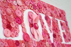 Pink Ribbon Button Art Love Plaque by Jen Goode