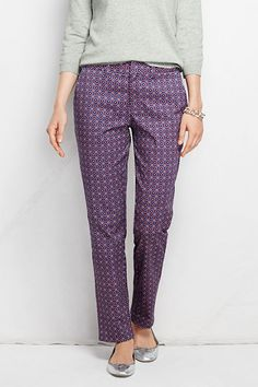 Women's Fit 2 Mid Rise Pattern Straight Leg Chino Pants from Lands' End