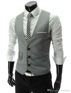 HOT Mens V-Neck Slim Fit Vests Suit Casual Formal Tuxedo Dress Waistcoat Style Wedding Outerwear