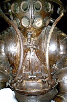 The Carmagnolle brothers' atmospheric diving suit from 1882 with rolling convolute joints.