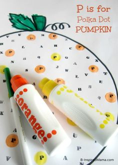 P is for Polka Dot Pumpkin from @B-Inspired Mama. This Halloween activity is a fun and educational way to teach letter recognition to children.