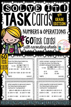 60 Task Cards for 4th Grade Common Core - Number & Operations in Base Ten