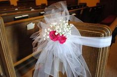 Tulle Pew decorations. Add flowers, crystal picks, bells, or specifically themed items, just about anything will work to customize this wedding decoration!