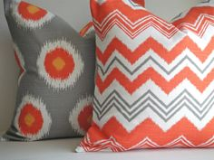 SET Of TWO 20x20 Pillow Cover In Ikat Chili by simplydivinebyjoann