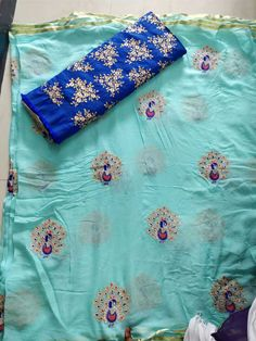 Elegant Fashion Wear Explore the trendy fashion wear by different stores from India Simple Saree Designs, Saree Blouse Designs, Pure Georgette Sarees, Chiffon Saree, Silk Sarees, Indian Wedding Gowns, Wedding Sarees, Indian Dresses, Jute Silk Saree