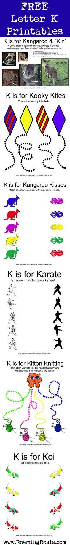 Letter K: Free Alphabet Worksheets for Kids Letter K Preschool, Preschool Literacy, Alphabet Activities, Preschool Activities, Kindergarten, Alphabet Worksheets, Worksheets For Kids, Australia Crafts, Zoo Phonics