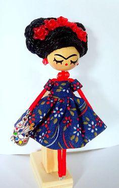 Frida Kahlo brooch Miniature doll Handmade doll by Delafelicidad