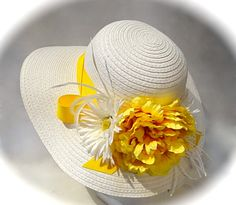 ♥♥♥ Yellow Peony Wedding ♥♥♥ - Yellow Peony Derby Summer Hat Women's Hats by Marcellefinery, $52.00